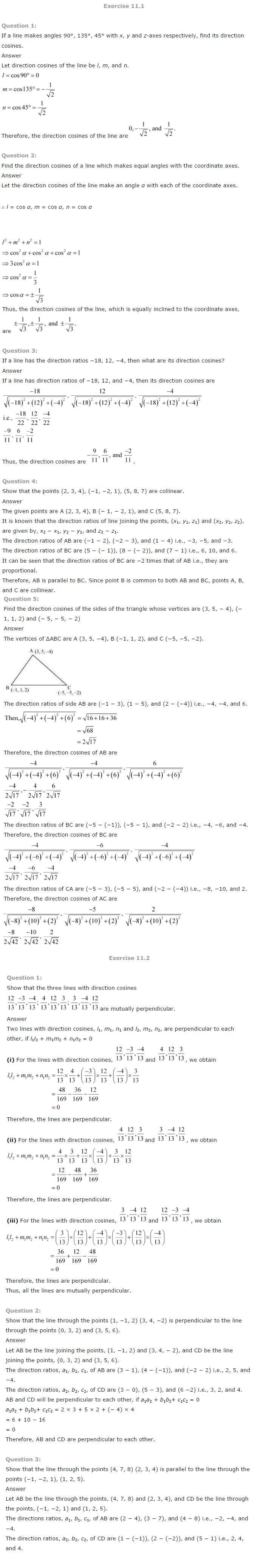 NCERT Solutions for Class 12 Maths Chapter 11 Three Dimensional Geometry ex 11.1