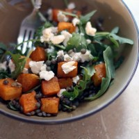 Spicy Squash Salad with Arugula, Lentils, and Goat Cheese