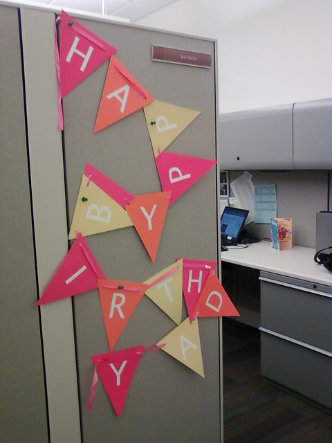 Birthday colors for a drab gray cubicle