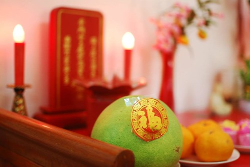 Pomelo and altar