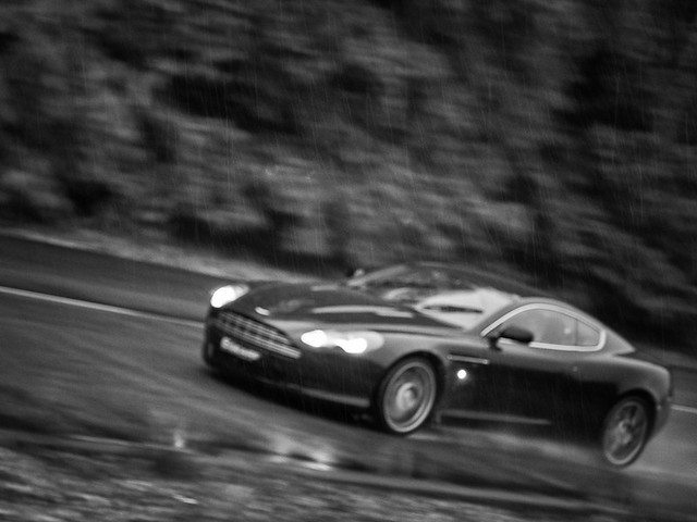 Aston Martin DB9 in the rain at Longcross