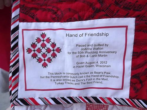 Martin Hand of Friendship Quilt Label