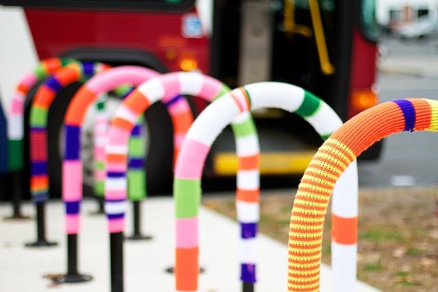 Bus stop yarn bomb