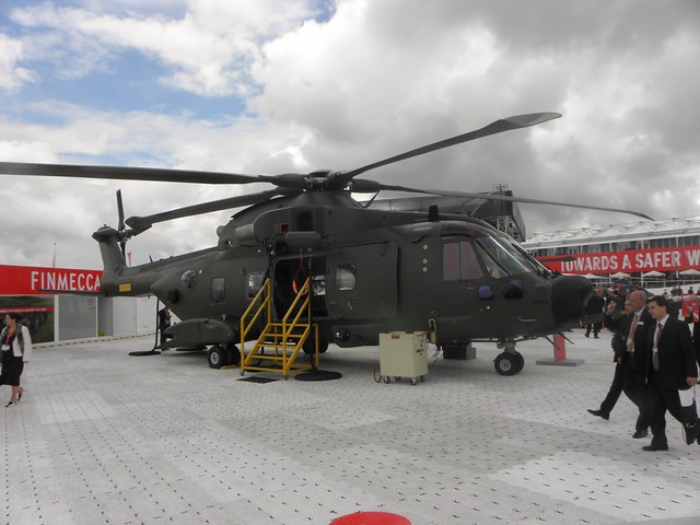 A military helicopter at the 2010 Farnborough Air Show