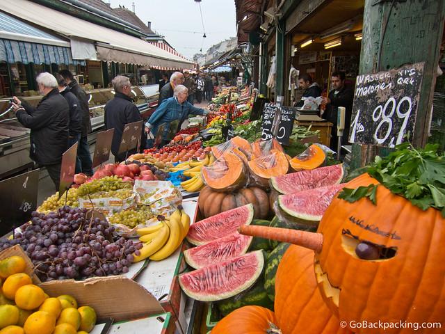 Fruit and vegetable stalls at the Naschmarkt