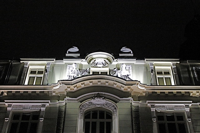 Walking at night in Sofia