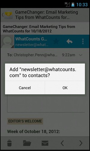 Snapshot of an Android phone. whitelist