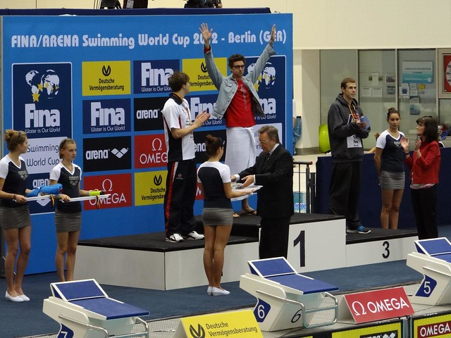 Anthony Ervin on the Berlin 2012 World Cup podium