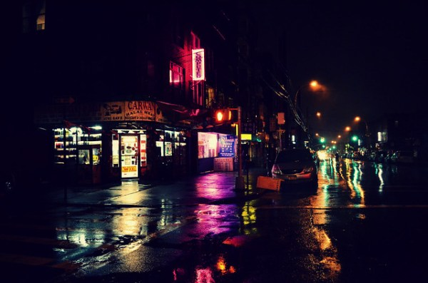 Neon lights & Wet pavements