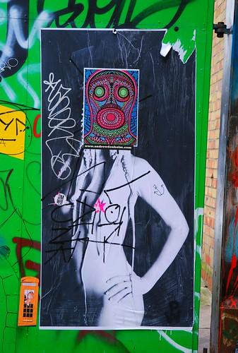 Graffiti (D7606 & ?), off Brick Lane, East London, England.