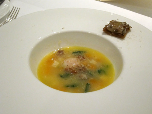 Autumn Minestrone with a Slow Cooked Quail Egg, Montgomery Stock, Tarte Fine of Savoury Onions and Cepes
