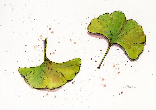 Watercolor Leaf Series004