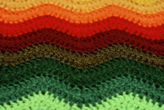 Close-up of Rainbow Ripple Stitch Crochet Scarf