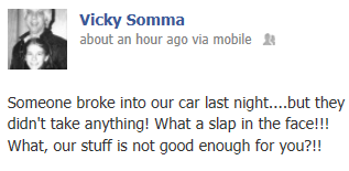 Facebook Status Update - Discovery of Car Thieves