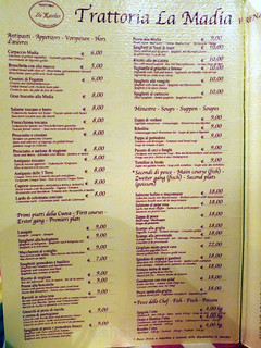 Trattoria La Madia menu
