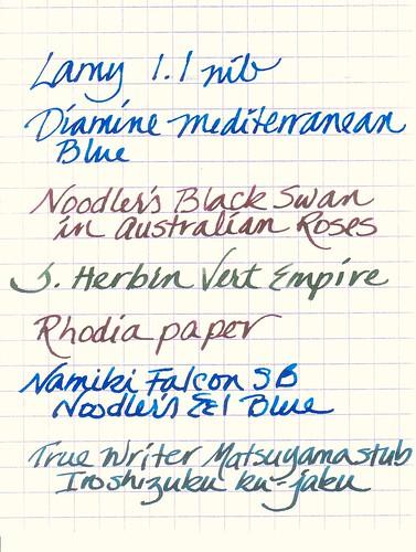 Wide Nib Fountain Pen Samples
