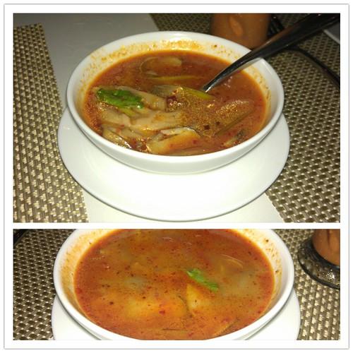 vegetarian and regular sea food Tom Yam @ Thai Bistro