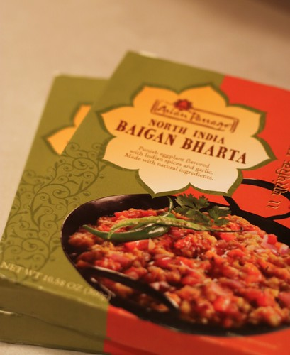 Small rectangular box. The brand is Asian Passage; it's North Indian Baigan Bharta.