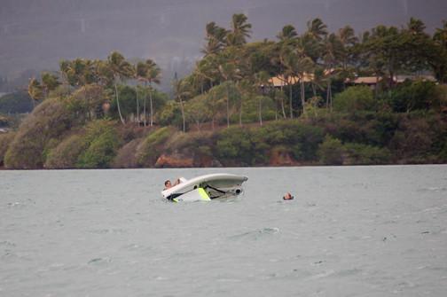 boat keels over