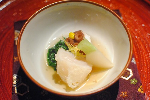 Simmered Presentation: Soft Octopus and Lightly Fried Sea Scallops with Autumn Vegetables