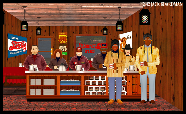 Catching up at Silverthorn's Café ©2012 Jack Boardman