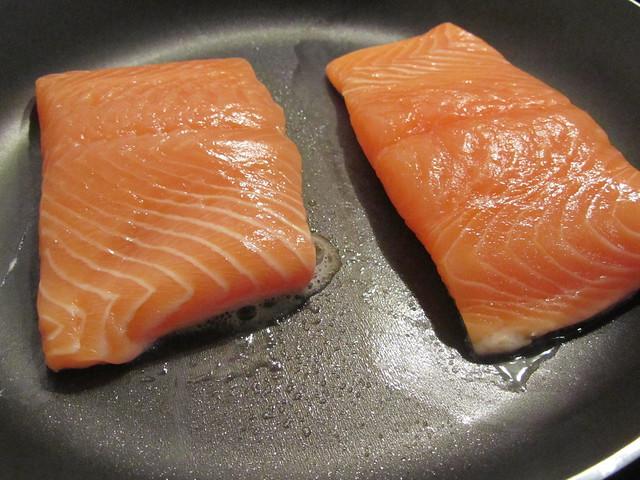 Cooking salmon teriyaki don