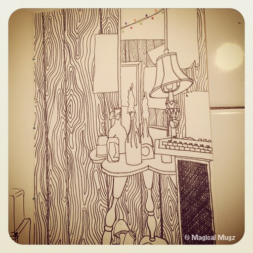 The Sketchbook Project 2013 - Corner of Maggie's Room with Mirror