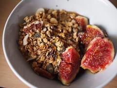 Breakfasts of Stewed Fruit, Granola, Chia Seeds, and Yoghurt