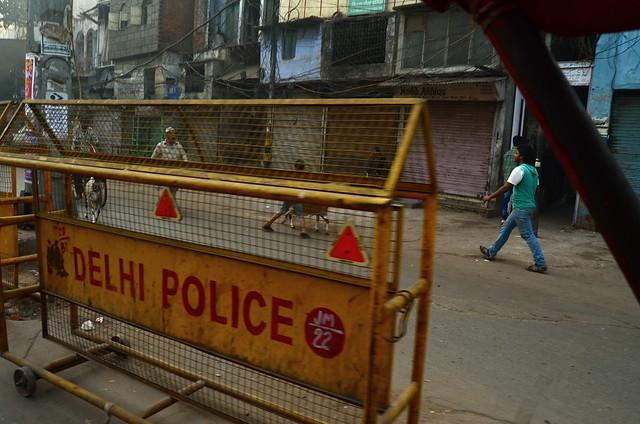 delhi police, delhi, old delhi, india, pedestrian