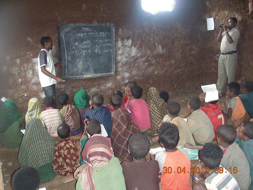Classroom construction with well-built roof and walls for Arbisi children