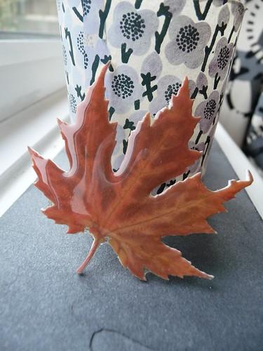 Handmade Plastic Leaf Brooch