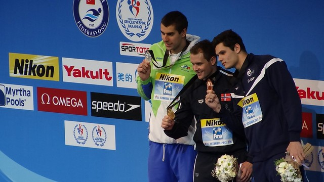 The Istanbul 2012 men's 50 breaststroke medal podium