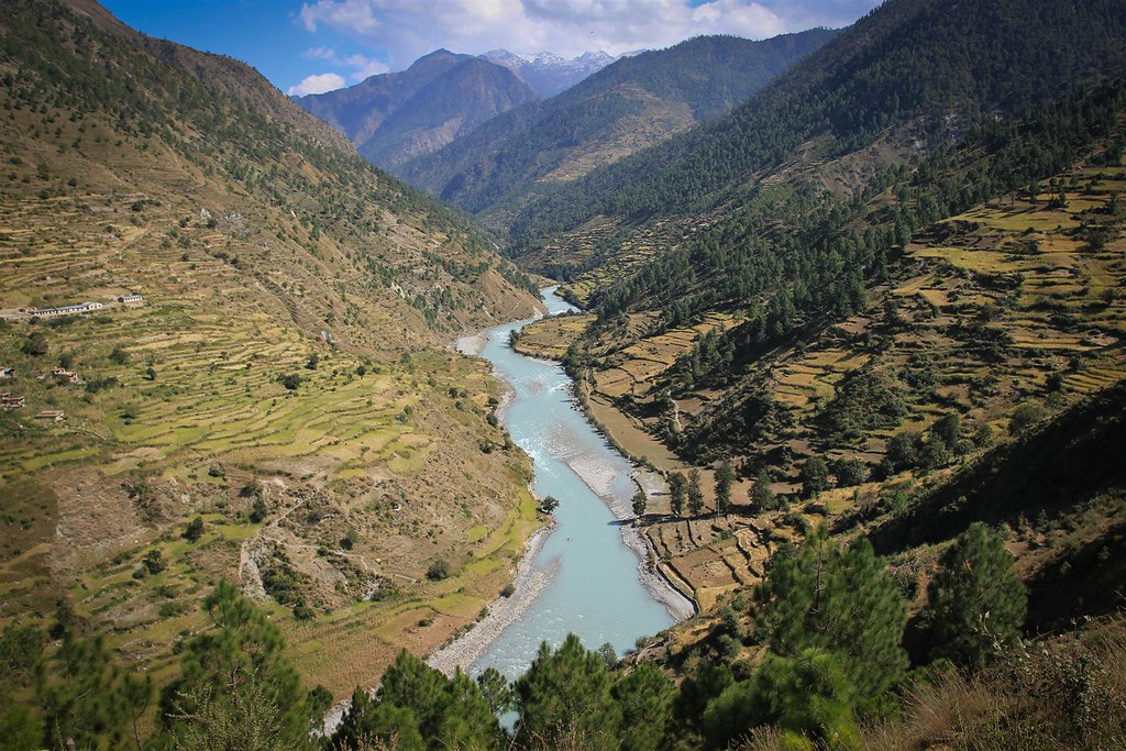 The Mugu Karnali River joins the Humla Karnali further south, dropping out of the HImalaya into the Ganges Plains in India.