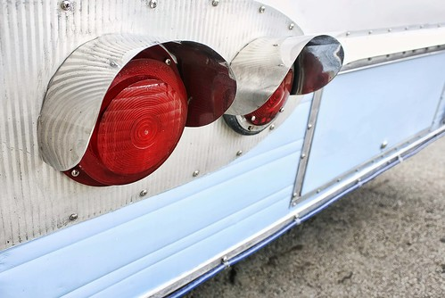 The hooded taillights of a vintage camper remind me of eyelashes! Copyright Jen Baker/Liberty Images; all rights reserved