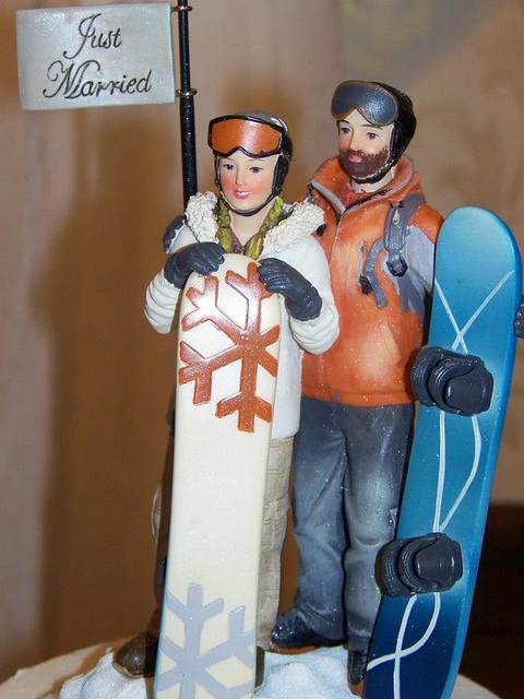 Cake topper - we got engaged on our snowboarding trip to killington mt, in vermont :)