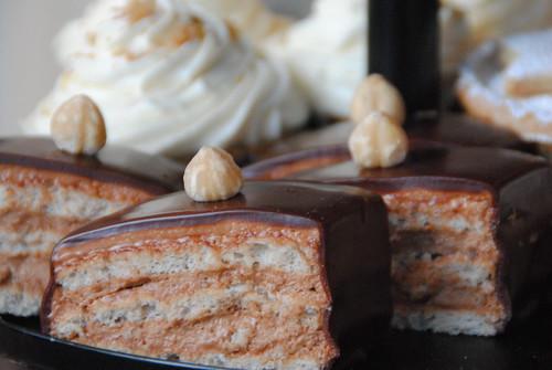 Chocolate and hazelnut opera cake