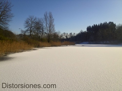 Pequeño lago helado en Anna's Hoeve