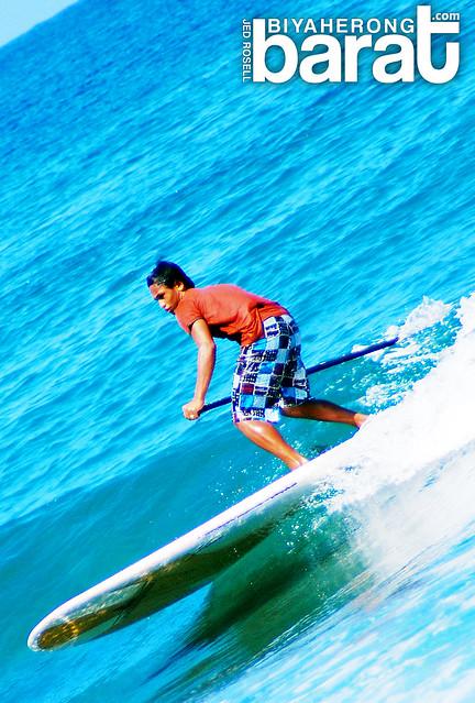 Paddle surfing in San Juan La Union Philippines