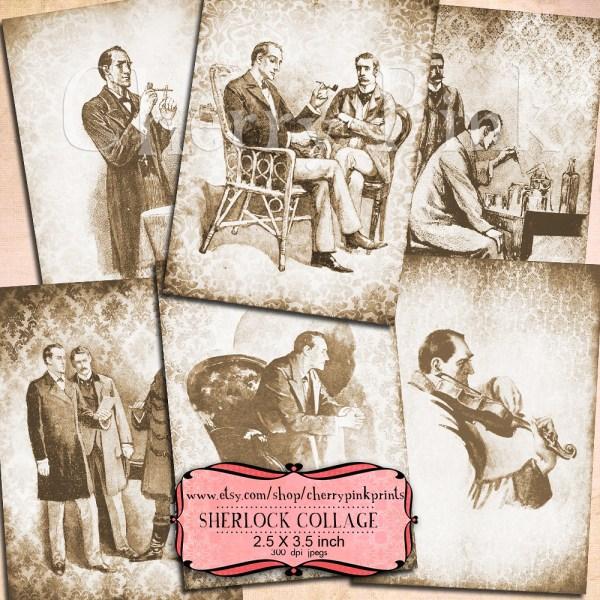 Sherlock Holmes Digital Collage Sheet Vintage Scrapbook 6
