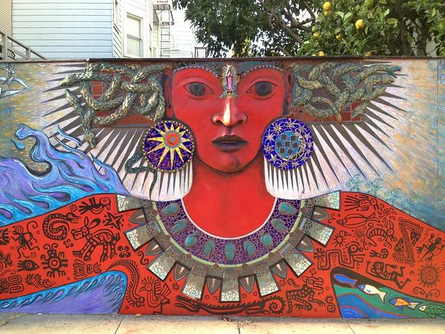 Tribal medusa mural/mosaic