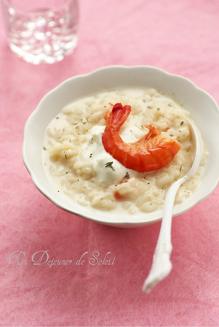 Burrata and shrimps risotto