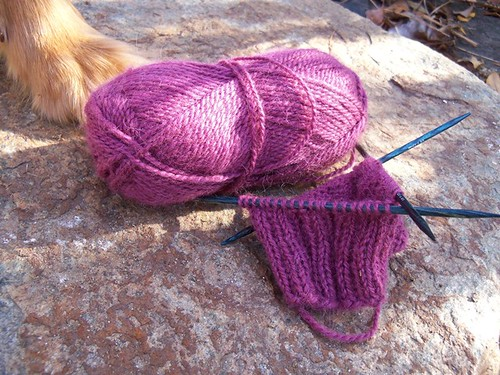 pink cabled mitts