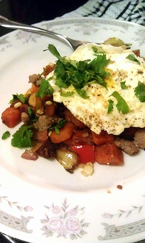 Sweet potato hash with a fried egg by pipsyq
