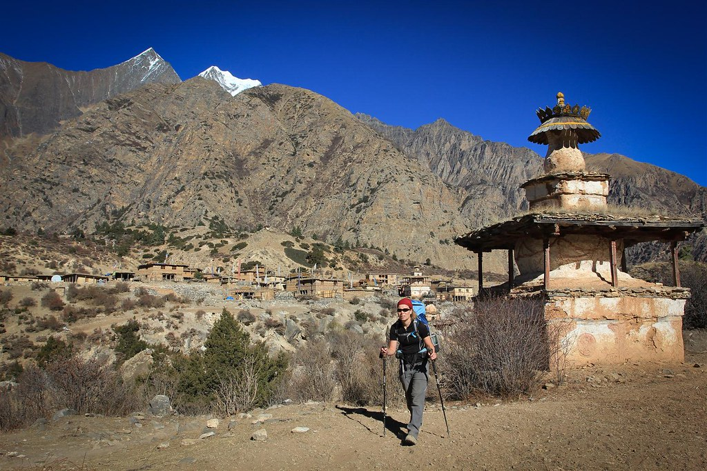 Leaving Ringmo village, with an impressive stupa garding its entrance