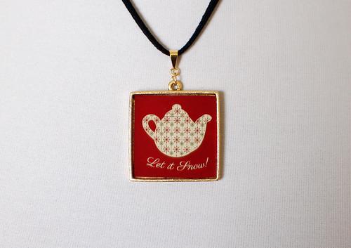 Snowflake Christmas Teapot Pendant