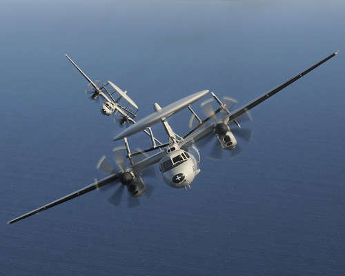 E-2C Hawkeyes over Southern California. by Official U.S. Navy Imagery