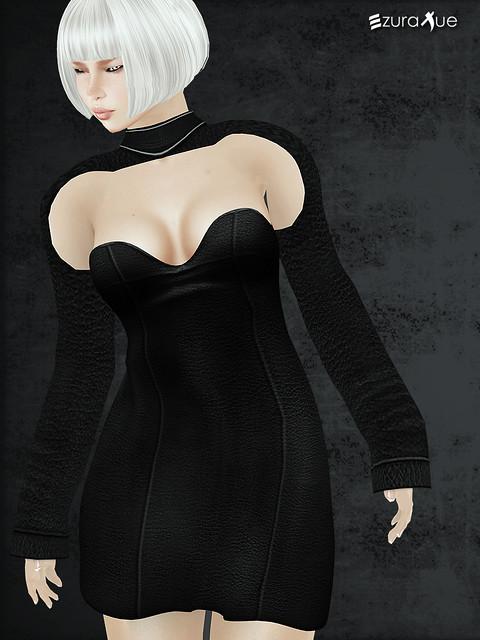 ezura + MESH . Mini Dress Leather & Shrugs
