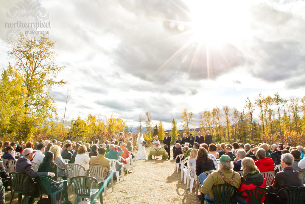 Fall Wedding Ceremony along the Bulkley River Smithers British Columbia Wedding Photographer