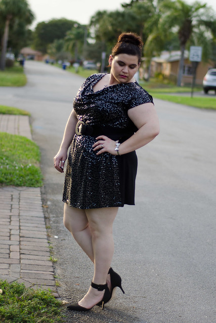 Looking down, Lane Bryant dress, zara heels