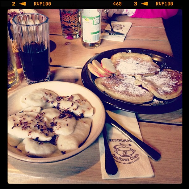 Perogies and apple pancakes.